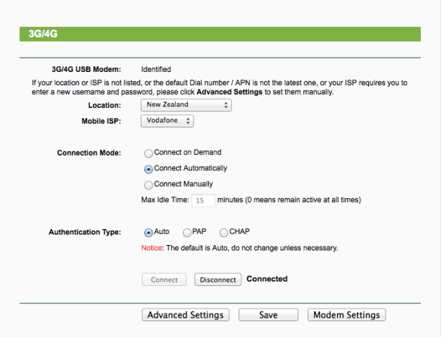 TP-Link 3G modem settings page