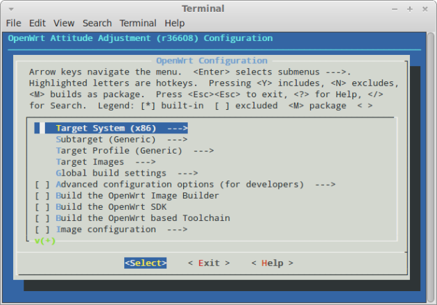 OpenWRT configration menu